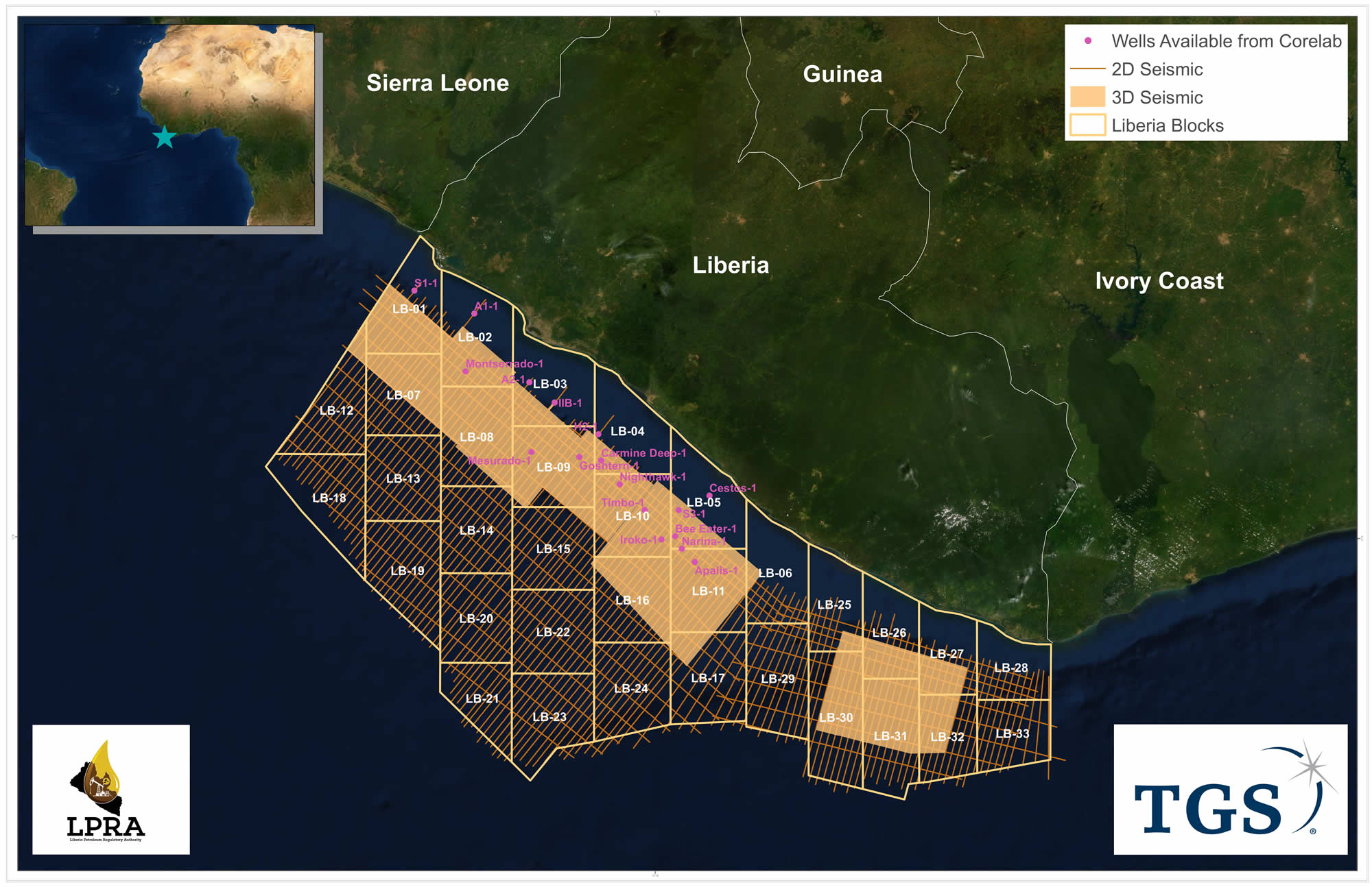 Map depicting Liberia Offshore Acreage